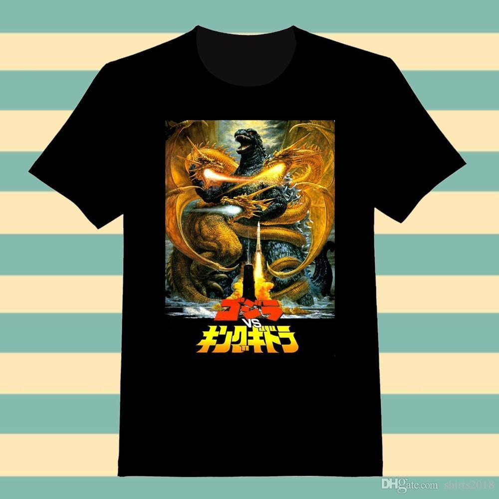 e5644b2c Online T Shirts Design Men's Broadcloth Crew Neck Classic Godzilla Vs King  Ghidorah Custom Adult T-Shirt Short-Sleeve T Shirt