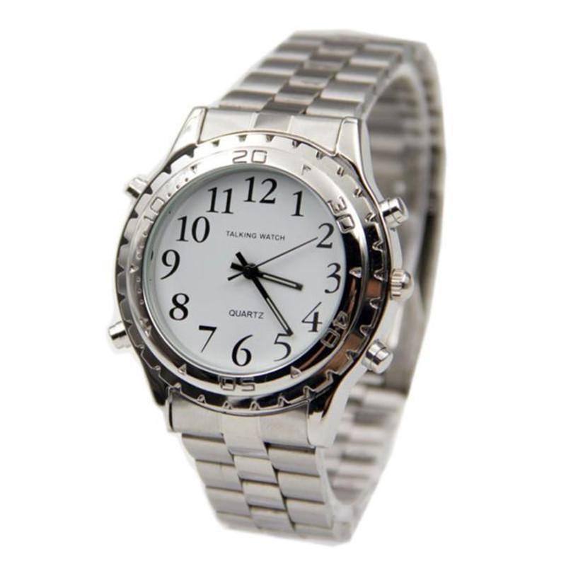 c7b50b63ef4 Compre Inglês Falando Falando Relógio De Aço Inoxidável Para Cegos Ou  Deficientes Assistir Relógio Maravilhoso Presente Das Mulheres Dos Homens  Relógios De ...