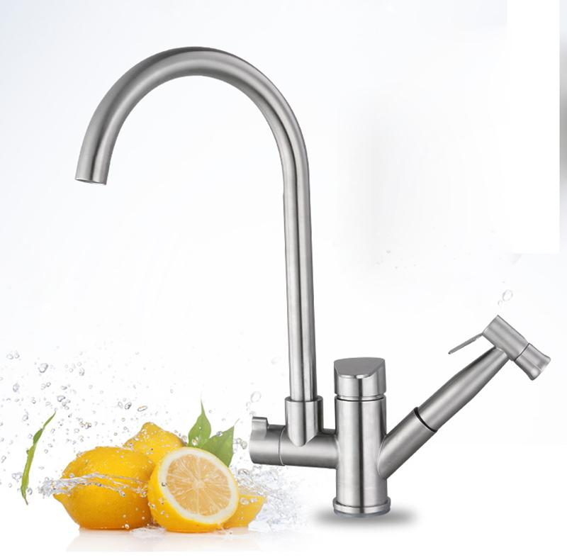 2018 Kitchen Faucet With Sprayer And High Spout Rotated Single