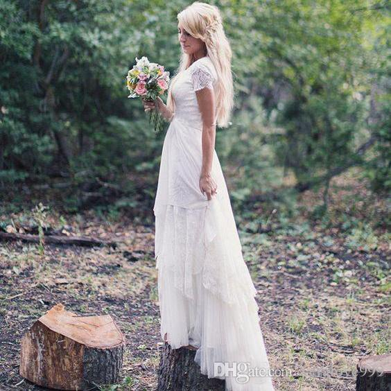 Country Western A Line Cheap Chiffon Bridal Gowns Beaded: Discount Western Country Wedding Dresses A Line With Short