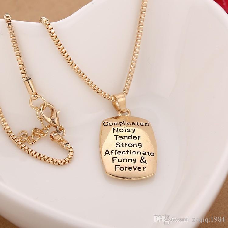 الحب بين الأم وابنتها معقد صاخبة قلادات الكلب علامة رسالة حب قلادة مجوهرات هدية لأمي