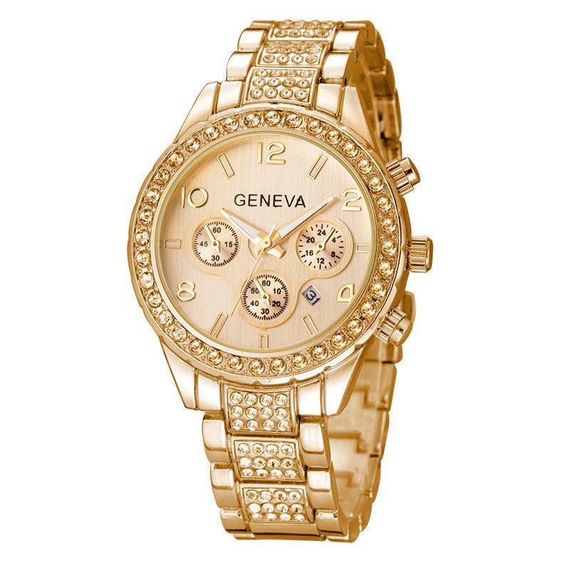 b54c7abad30 Compre Senhoras Da Moda Relógios De Ouro Mulheres Relógio Feminino De Alta  Qualidade Da Marca Mulheres Vestido De Quartzo Strass Relógios Relojes ...