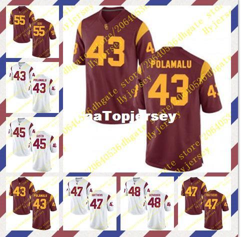 buy popular 24516 8a9f5 Cheap Men's Troy Polamalu Jersey Porter Gustin Clay Matthews Taylor  McNamara Junior Seau Stitched Red White USC Trojans Football Jerseys