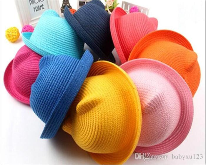 2018 Baby Straw Hat Kids Cat Ear Decoration Lovely Beach Cap