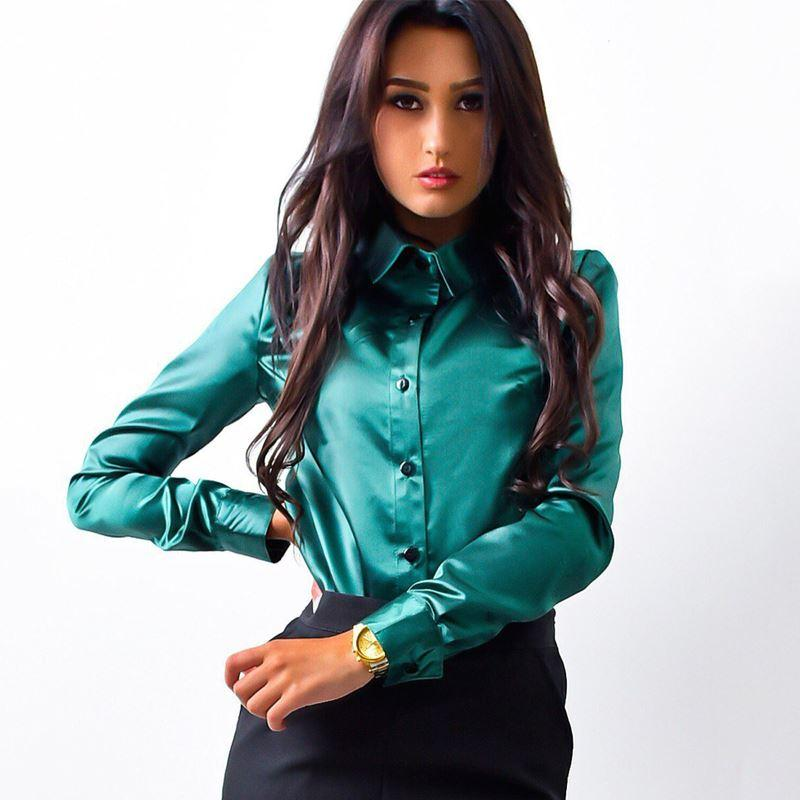 02fbd9dd72f21 SIMIN Women Silk Satin Blouse Button Lapel Long Sleeve Shirts Ladies ...