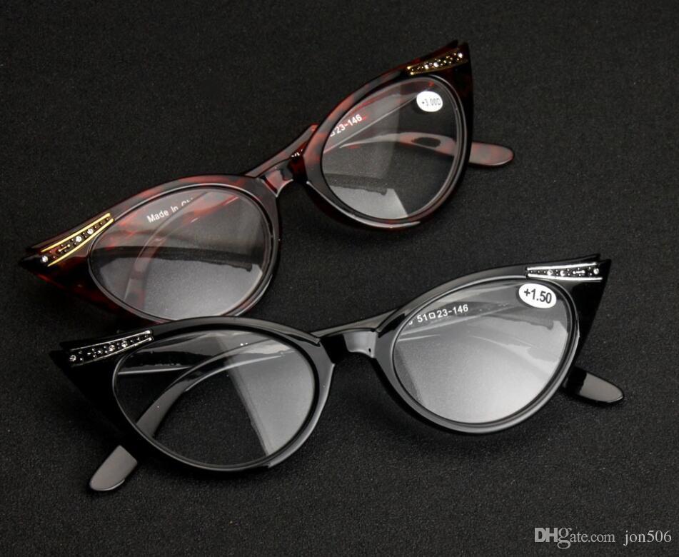 a459448c1d Men Women Black Tortoise Retro Cat Eye Rhinestones Diamonds Reading ...