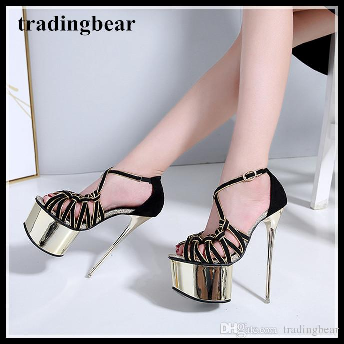 cb4d985f8a4 16cm Rome sexy black gold strappy hollow out high heels platform shoes  women summer sandals black size 34 to 40
