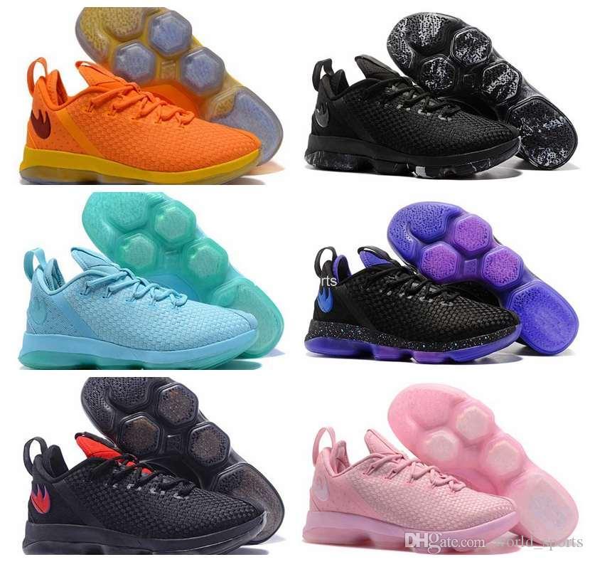 80d55dfd1095 Acheter LBJ 14 Low EP Rose Vert Triple Noir Beige Bleu Olympique Or Mens  Weave Basketball Chaussures Sneakers James LB 14 S Chaussure De Sport De   48.88 Du ...