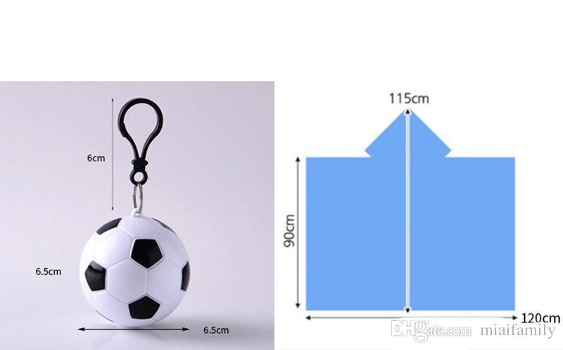 Il più caldo calcio pallacanestro sferica impermeabile palla di plastica portachiavi monouso impermeabile portatile Rain Covers viaggio viaggio viaggio pioggia cappotto