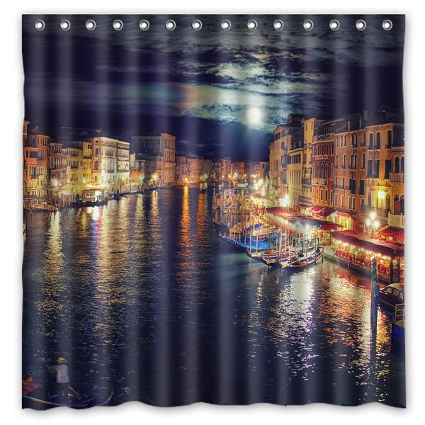 2019 Venice Scenery Shower Curtain Bath Curtains Waterproof Mildew Resistant Polyester Bathroom With Hooks 180180cm From Baibuju8 4657