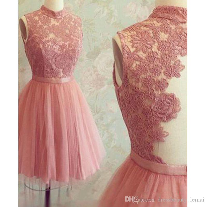 f4fdbe27a74 New Vintage Pink Short Homecoming Dress High Neck Lace Mini Prom Dresses  Custom Made Illusion Back Cocktail Party Dresses Gold Homecoming Dresses  Gowns ...