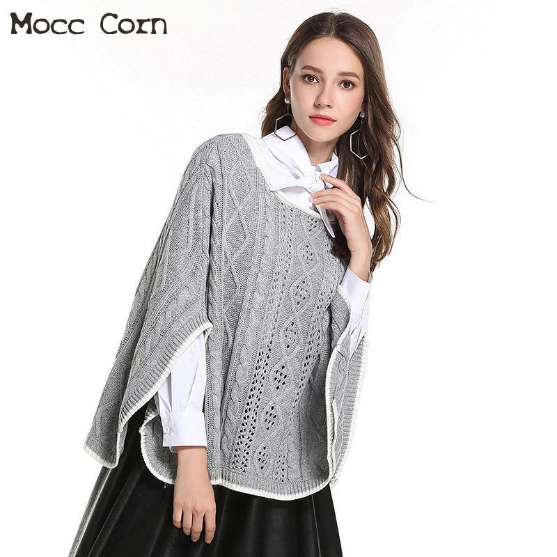 bdcbc90ed163 Acheter Femme Tricots O Cou Sans Manche Cape En Tricot Châle Pull ...