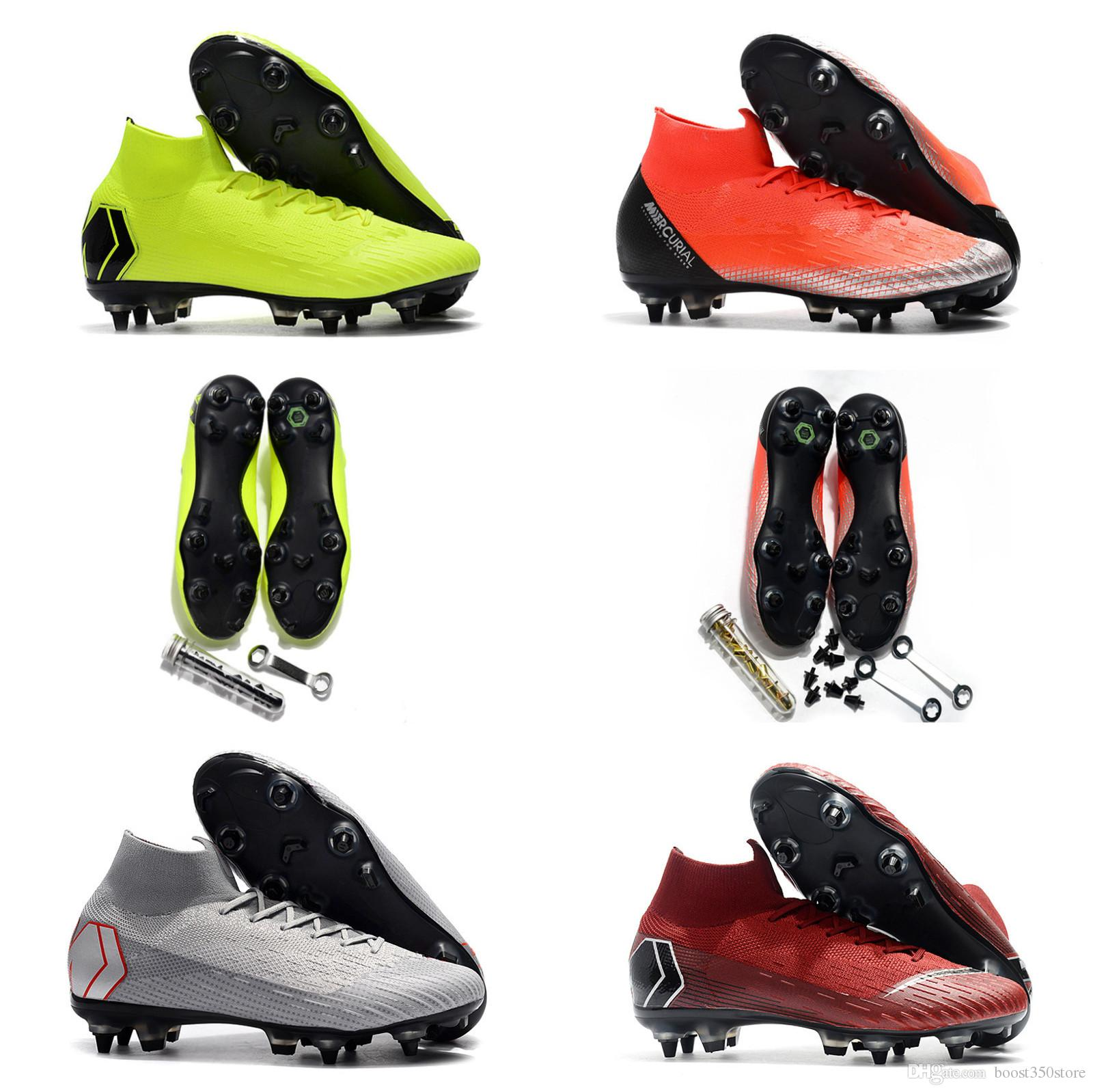 size 40 ca7a1 27cb4 Men Soccer cleats Mercurial Superfly VI Elite CR7 SG AC Steel Spikes  Fluorescent green Chinese Red High Soccer Shoes size EUR39-45