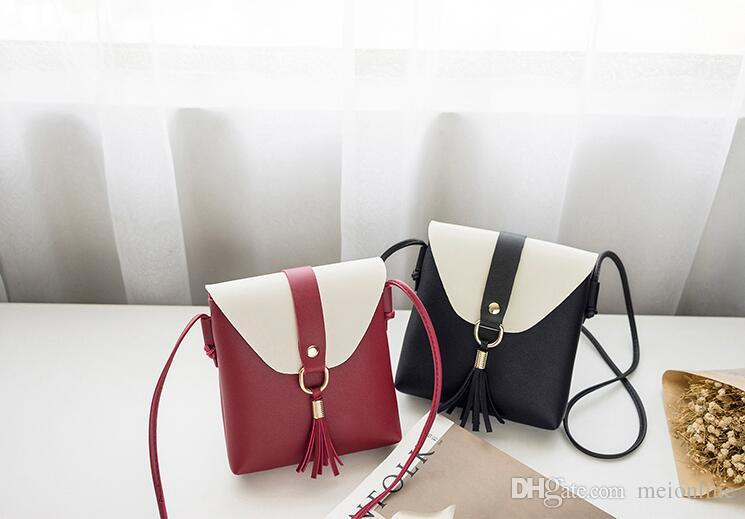 2018 Japan and Korean Style Simple Mini Cell Phone Pocket soft Two-tone Tasse PU leather single shoulder bag