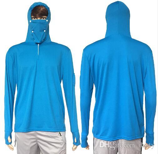 5b9f26600 Compre Protectores Solares Tops Ropa De Pesca Camisa De Protección Solar Anti  UV Transpirable Hombres Camisa De Pesca Con Capucha De Secado Rápido Camisa  De ...