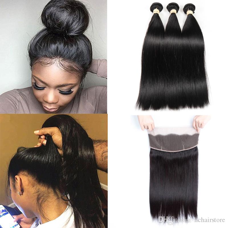 360 Lace Frontal With 3 Bundles For Black Women 150% Density Pre Plucked  Brazilian Straight Lace Front Human Hair NonRemy With Baby Hair The Best Human  Hair ... 75c64a055