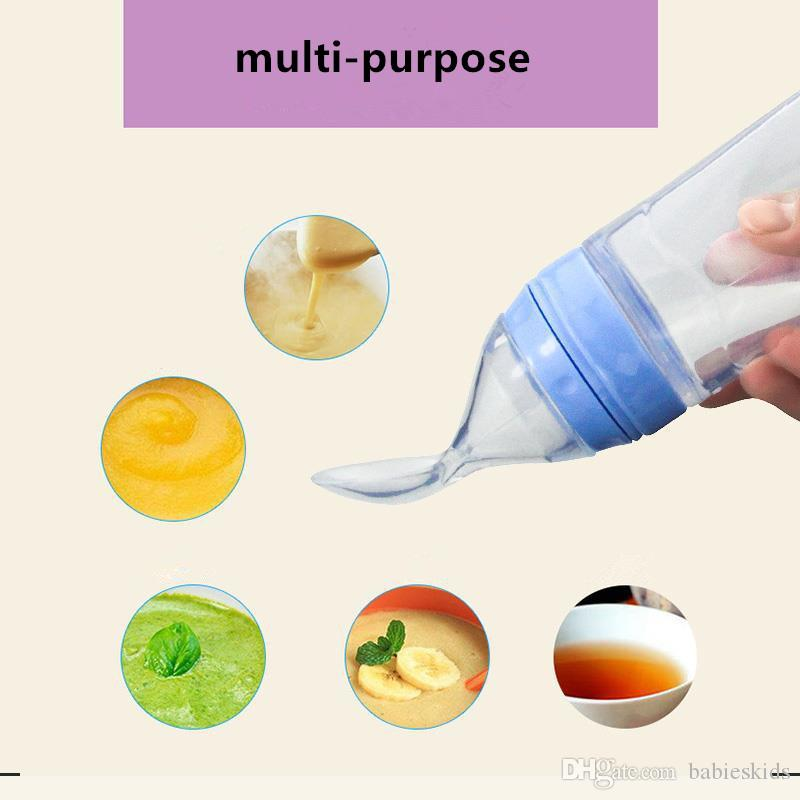 1 UNID Bebé Squeezing Feeding Spoon Recién Nacido Toddler Gel de Sílice Suplemento Alimenticio Alimento Cereal de Cereal Complemento Alimenticio Alimentador Seguro Vajilla