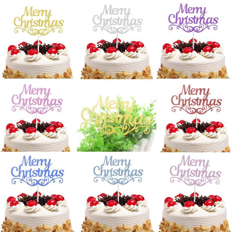 Grosshandel 20 Teile Los Frohe Weihnachten Kuchen Topper Flaggen