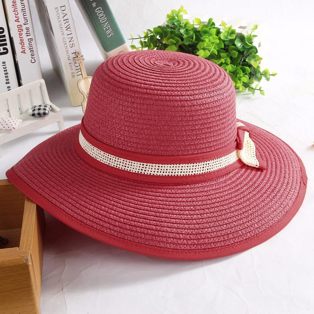 Handmade Knitted Paper Sun Hats Large Wide Brim Summer Hat Bowknot  Breathable Flat Cap Beach Hats Caps For Women Girl Hat Hats From Alley66 446cd21309c