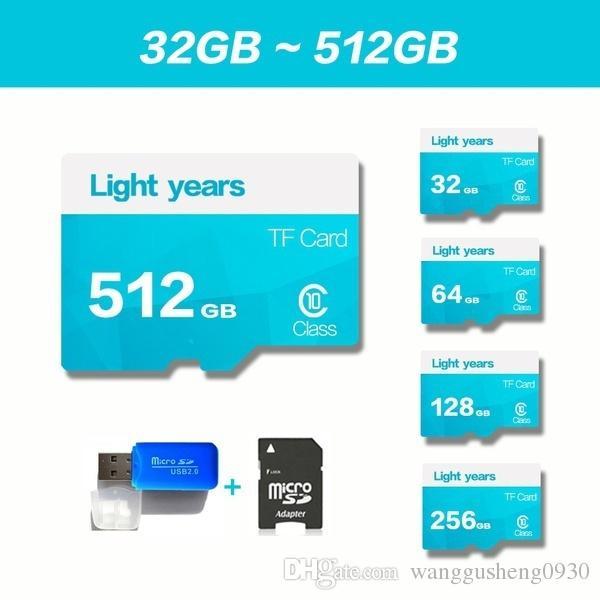 2017 32GB-512GB High Speed Light years MicroSD SD/TF Card Class10 Flash  Memory + SD Card Reader + Adapter Reader