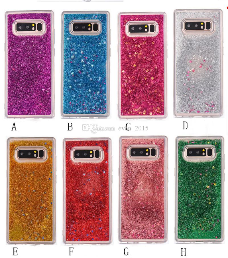 For Samsung S8 S9 S9cPlus Transparent Liquid Glitter Phone Cases Floating Bling Starts For Iphone X Case For LG G5 G6 ZTE Cases