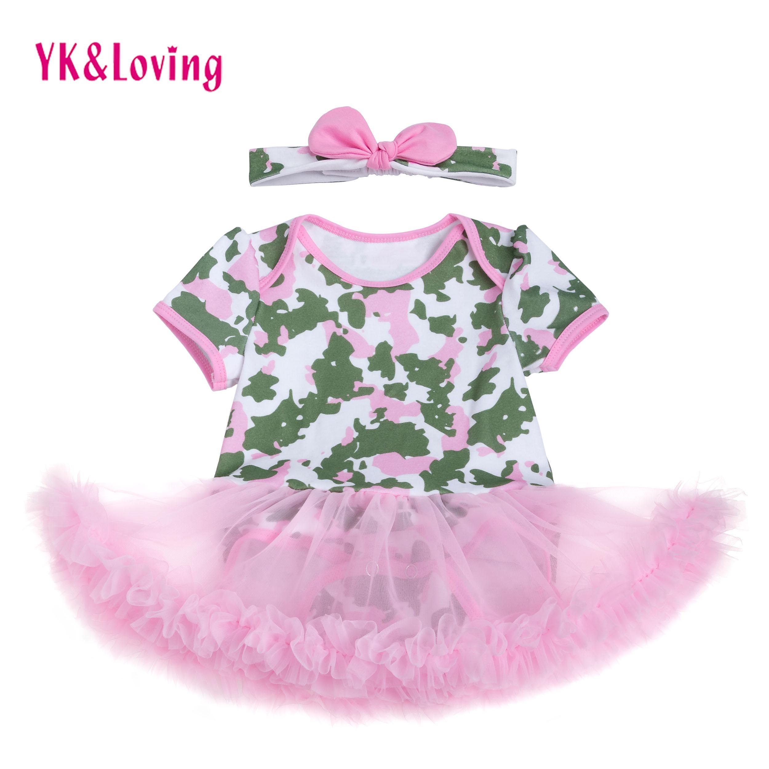 2018 Camouflage Newborn Baby Girls Dress Pink Short Sleeve Cotton