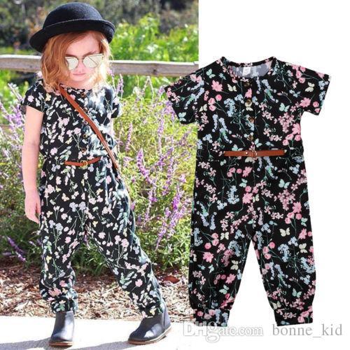 f33acbc74ec8 2019 Retro Boho Kid Girl Floral Jumpsuit Romper Short Sleeve Flower ...