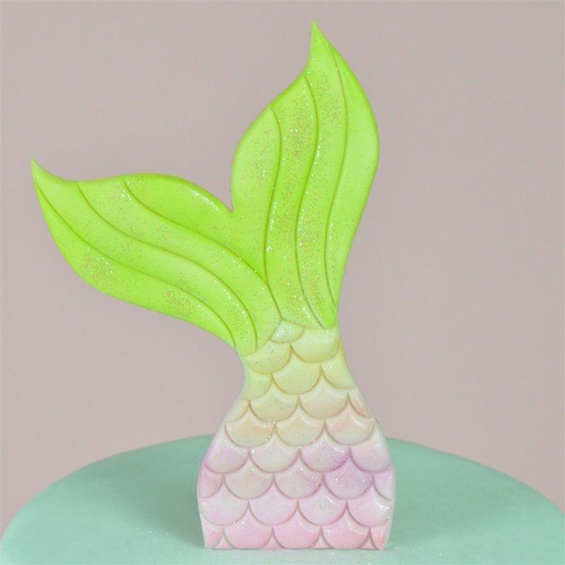 Kreative Meerjungfrau Schwanz Kuchenform Kunststoff Kekse Cutter Form Backenwerkzeuge 2 stücke In Einem Satz 3 5kl C R