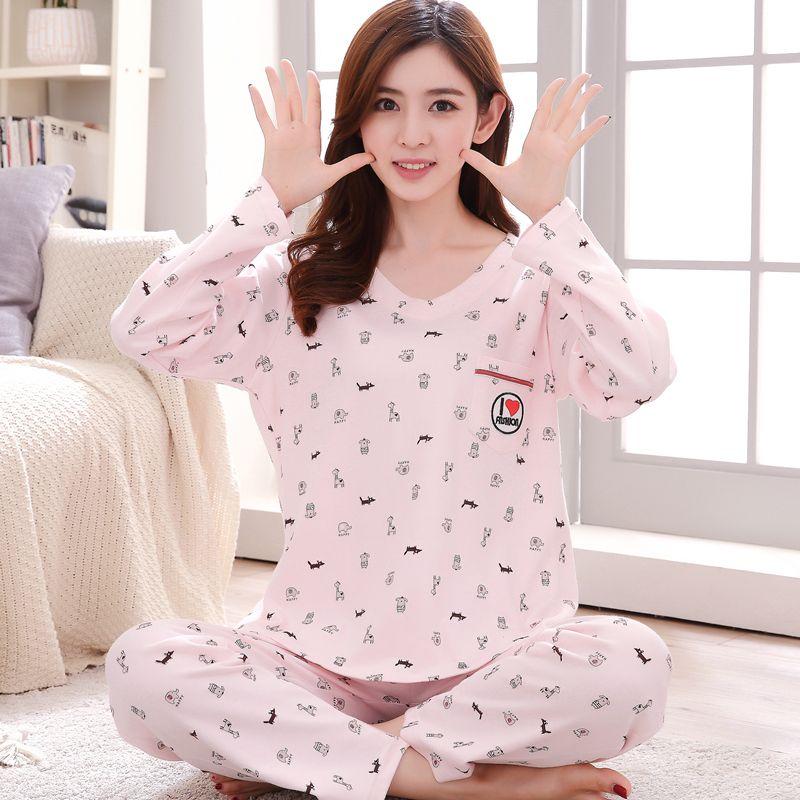 c5c59d090a18 2019 Cute Women S Pajama Sets Print Set Long Sleeve Top + Pants Women  Pajamas Cotton Plus Size Pajamas Suit For Women From Kuaikey