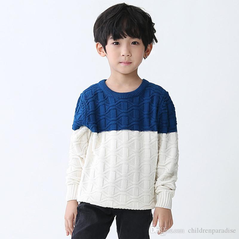 cb40d53c44c678 Children Boys Casual Color Block Long Sleeve Fall Winter Pullover Knitted  Sweatr Kids Boy Fashion Two Tone Color Sweater Clothes Free Knitting  Patterns For ...