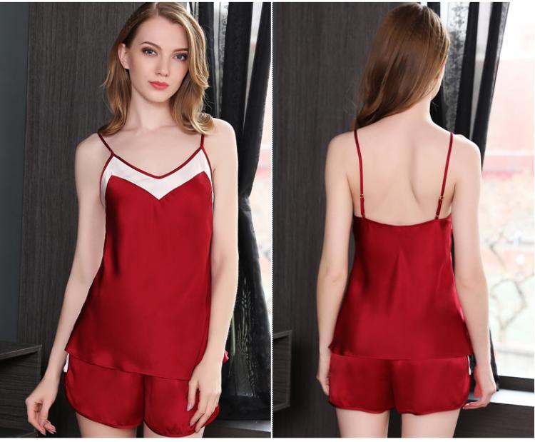 b29e73448cdf12 Silk Stain Pijama Shorts Set Duas Peças Mulheres Azul Vermelho Sem Mangas  Camisa e Shorts Pijama Feminino Pijama Define Sleep Home desgaste
