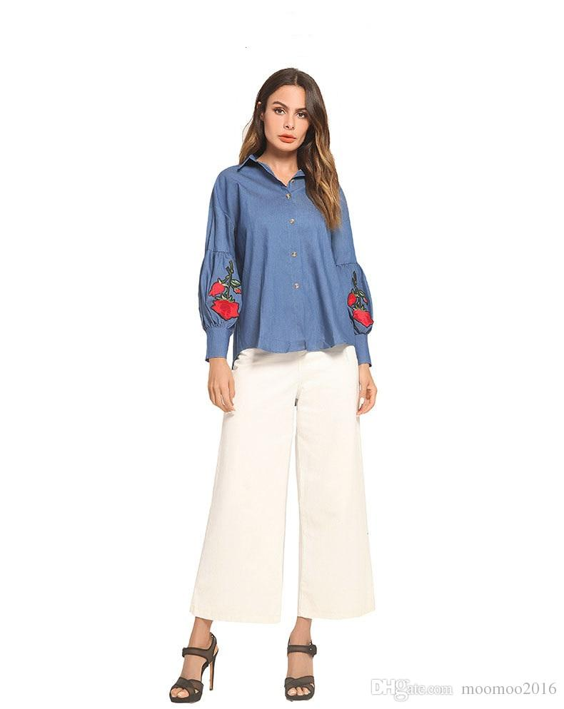 60315903d85eeb 2019 Women New Elegant Cotton Blouse Ladies Long Sleeve Rose Embroidery  Blue Denim Jean Shirts Women Casual Loose Tops From Moomoo2016
