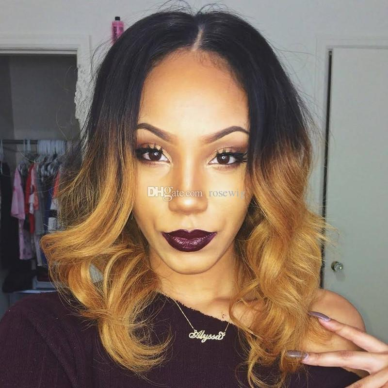 1B 27 Ombre Brazilian Short Bob Human Hair Wigs 130% Density Body Wave Ombre Honey Blonde Glueless Full Lace Wigs & Lace Front Wigs