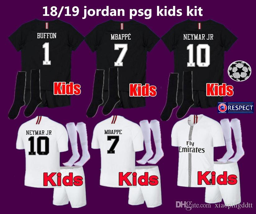 2019 MBAPPE 7  PSG Kids Kit Soccer Jerseys 18 19 Youths Boy Child Third  Black White 3Rd CHAMPIONS LEAGUE Football Shirts Uniform Sets Socks UK 2019  From ... ce89648af