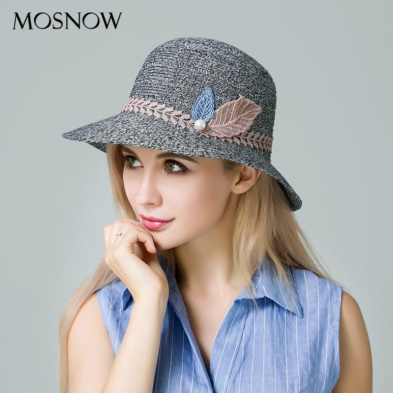 MOSNOW 2017 New Arrival Summer Hats For Women Sun Fashion Leaves Straw Hat  High Quality Boater Cap Breathable Beach Chapeau Scala Hats Wholesale Hats  From ... cc461000f73