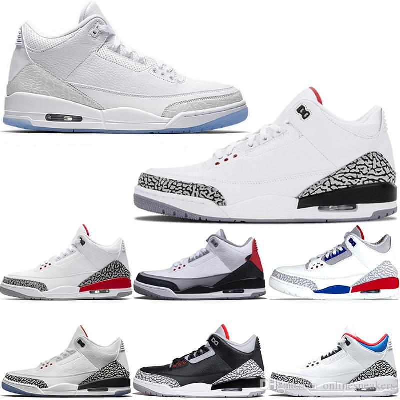 f67e227931f Acheter Nike Air Jordan 3 3s Retro Chaussures De Basket Ball Hommes Katrina  Tinker JTH NRG Noir Ciment Libre Ligne De Lancer Pure Blanc Feu Rouge Pas  Cher ...