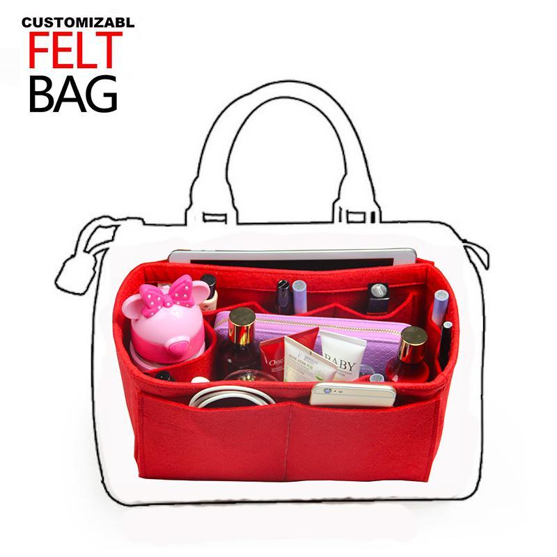 Customized Felt Handbag Organizer Wool Purse Insert Tote Organizer Bag In Bag  Neverfull MM GM PM Speedy 25 30 35 40 Insert Diape Makeup Artist Train Case  ... 7814cf68a752a