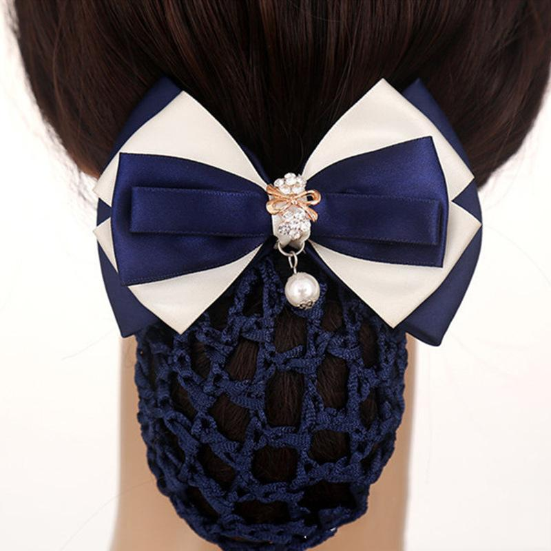 Fashion Office Lady Bow Pearl Tie Hair Clip Flower Barrette Cover Bowknot Net Bun Deep Snood for Long Hair for Women