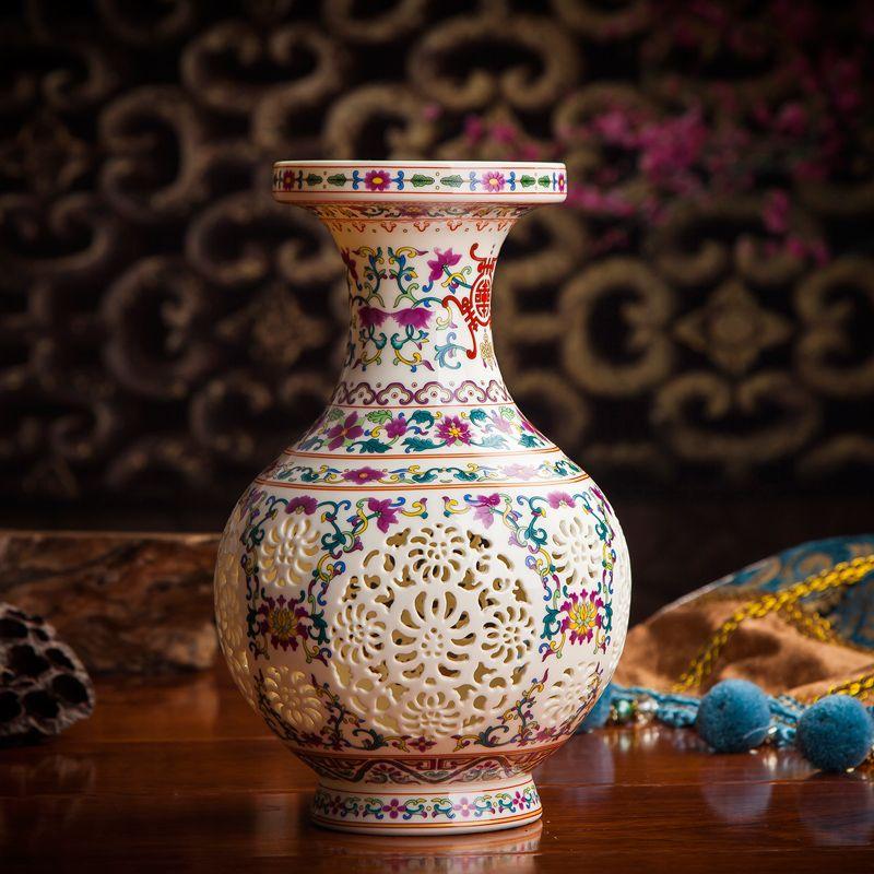 Antique Jingdezhen Handicraft Ceramic Vase Chinese Pierced Hollow