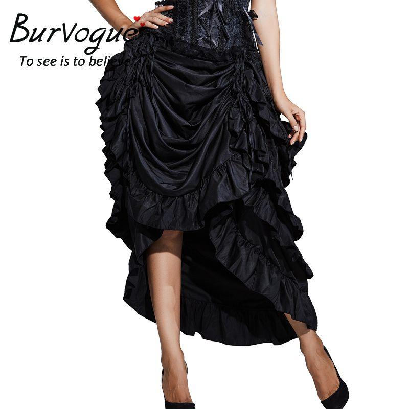 2019 Burvogue Women Satin Fashion Skirt Irregular Long Gothic Skirt  Steampunk Lace Up Maxi Ruffled Black Corset Skirts For Womens From Sizhu 4e8c5f669