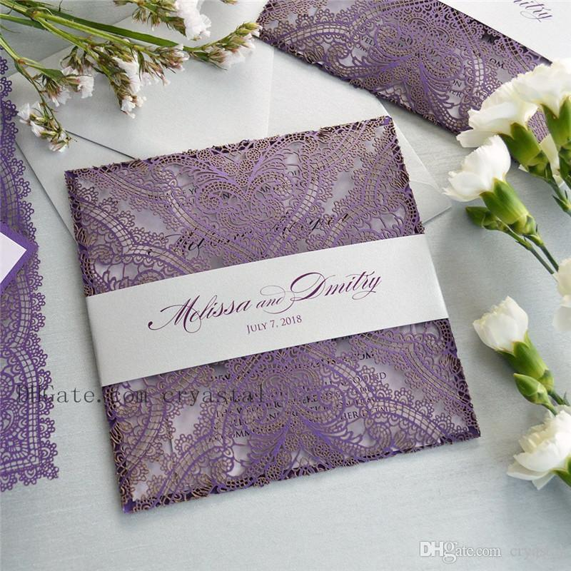 Purple Lace Laser Cut Wrap Invitation Square Laser Cut Wedding