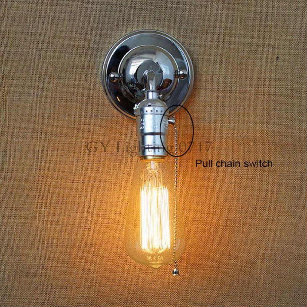 120v 230v Pull Chain Switch Scone Wall Lights E27 Chrome Plate American Retro Vintage Iron Lamp 90v 240v Antique
