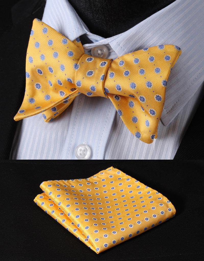 9fd15cf1c81dd Wholesale-BF2020Y Yellow Blue Floral Classic 100%Silk Jacquard Woven Men  Butterfly Self Bow Tie BowTie Pocket Square Handkerchief Suit Set Ties  Cheap Ties ...
