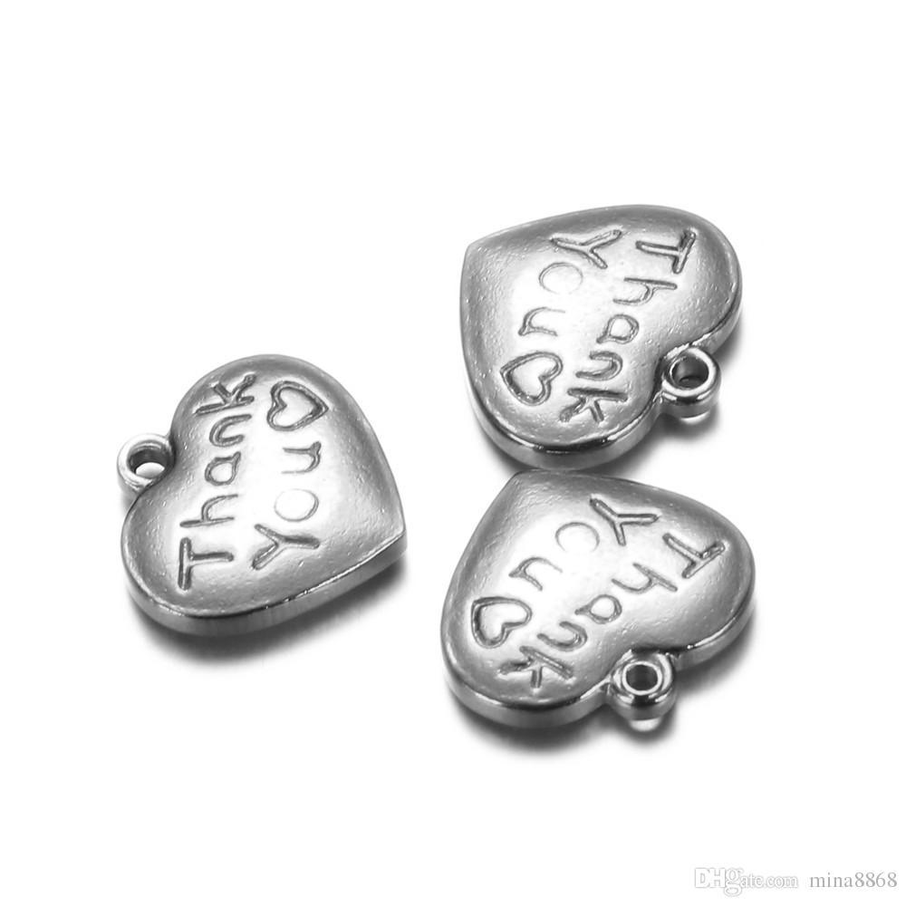 / 14 * 15mm couleur argent / or Amour Gravé Coeur Charmes en acier inoxydable Alphabet Pendentif Charme pour Bijoux collier Making DIY Bricolage