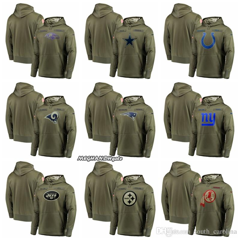 467c9d0d3 Hot Ravens Dallas Cowboys Colts Rams New York Giants Washington Redskins Olive  Salute to Service Sideline Therma Performance Pullover Hoodie Basketball ...