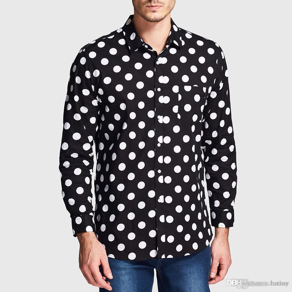 dcf1507c8b7 2019 Wholesale Zecmos Black White Polka Dot Shirt Men Pattern Dot Casual  Shirt Male Long Sleeve Fashion From Namany