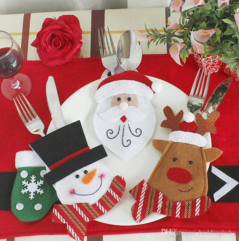 2018 wholesale christmas decorations restaurant layout elderly snowman knife fork bag creative tableware set christmas dinner set gift from beddingbaby