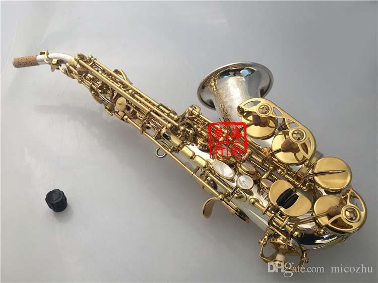 Marka InstrumentYANAGISAWA SC-9937 Kavisli Profesyonel Soprano Saksafon Silvering Pirinç Sax Ağızlık Yamalar Pedleri Kamışlar Kamışlar Viraj Boyun