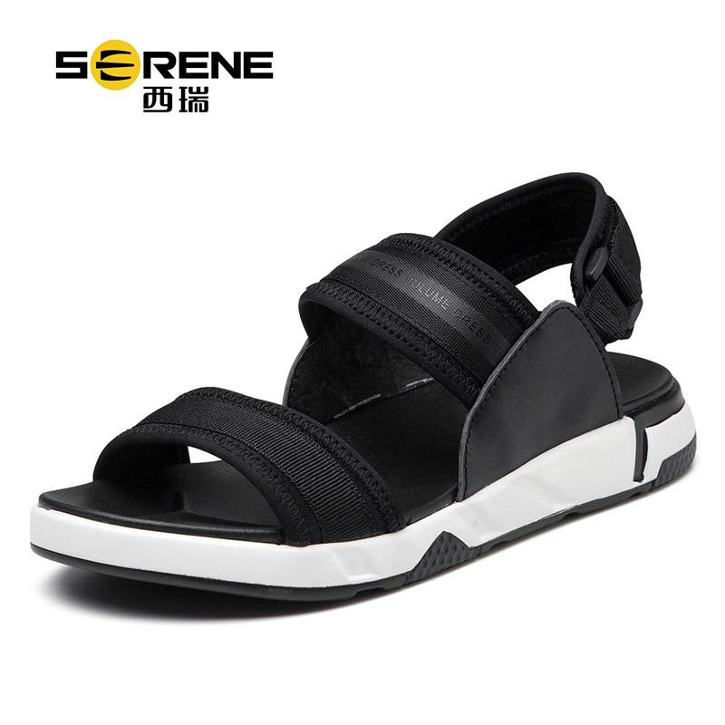 68eb59f0ac3 Serene Beach Sandals Men Genuine Leather Sandals For Men Lace Up Sandale  Homme 2018 New Casual Beach Shoes Men Designer Sandals Sandals For Men  Jelly ...