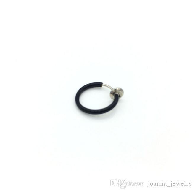 Fine Circle Nose Rings Multi Colors Clip on Nose Fake Stud Earrings Punk Goth Septum False Hoop Navel Body Piercing Jewelry